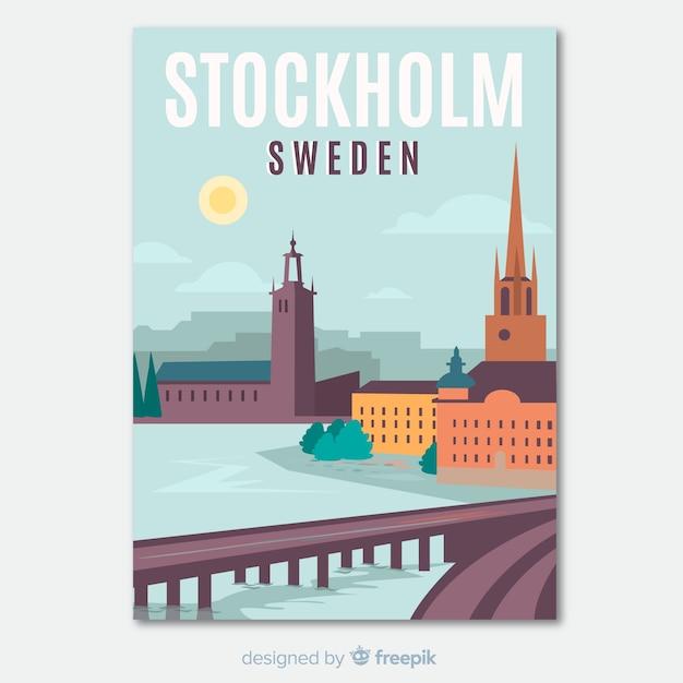 Dépliant promotionnel rétro du modèle de stockholm Vecteur gratuit