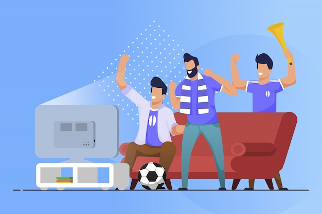 Dépliant Publicitaire Fans De Sport à La Maison Cartoon Flat Vecteur Premium