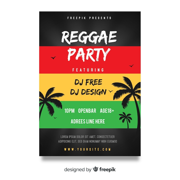 Dépliant reggae party night Vecteur gratuit