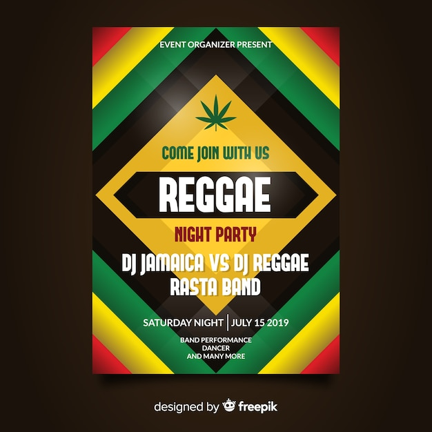 Dépliant reggae party night Vecteur gratuit