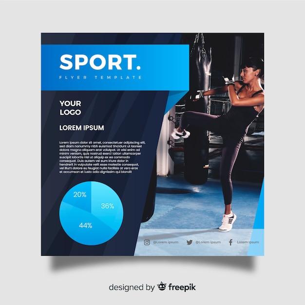 Dépliant Sportif Avec Modèle De Photo Vecteur gratuit