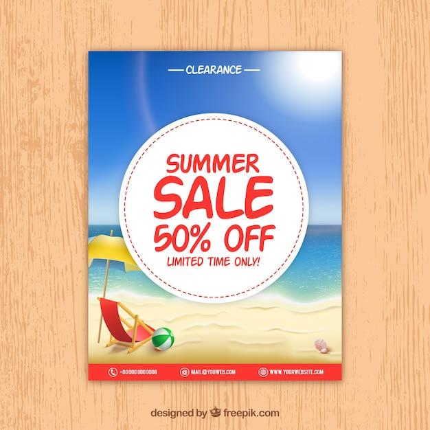 Dépliant de vente d'été réaliste Vecteur gratuit