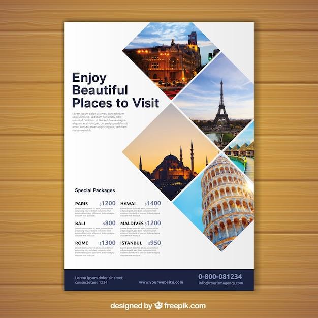 Dépliant de voyage avec photo des destinations Vecteur gratuit