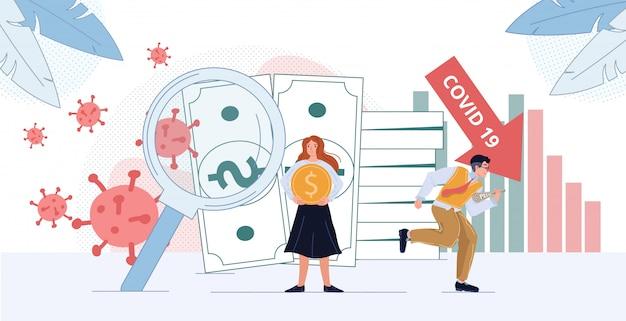 Dépression Financière Et Illustration De Cellules De Coronavirus Vecteur Premium