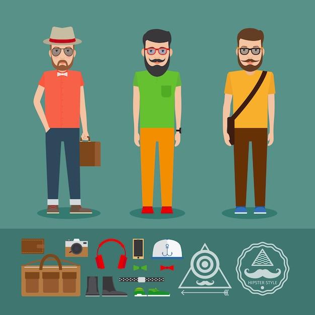 Dernier vêtement de style plat hipster Vecteur Premium