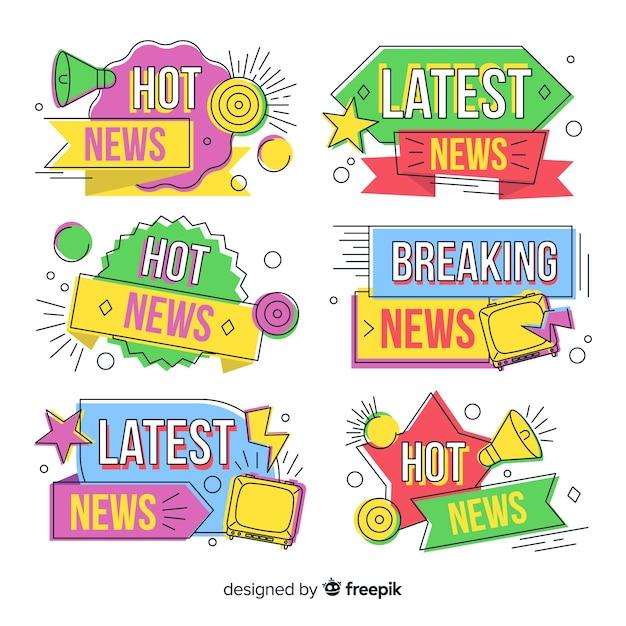 Dernières nouvelles bannières colorées Vecteur gratuit