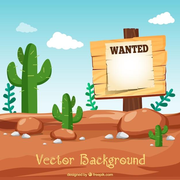 Desert Background Avec L'affiche Désirée Vecteur gratuit