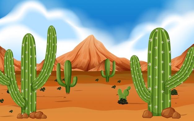 Désert avec montagne et cactus Vecteur Premium