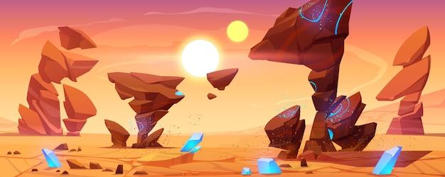 Désert De La Planète Extraterrestre Dans Le Cosmos, Paysage Martien Vecteur gratuit