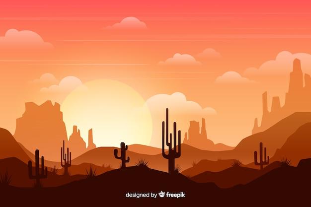 Désert avec soleil et grands cactus Vecteur gratuit