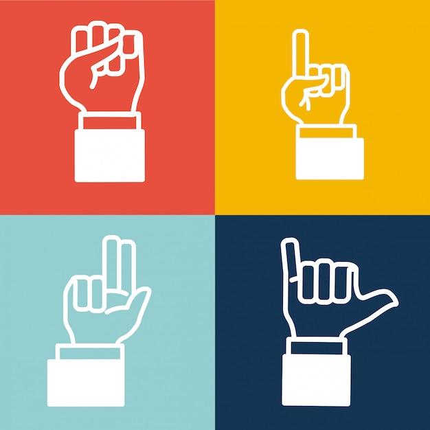 Desgin de la main humaine Vecteur Premium