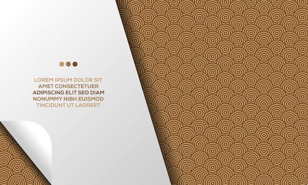 Design abstrait moderne d'arrière-plan de motif de conception géométrique de cercles bruns de luxe avec le modèle de texte Vecteur Premium