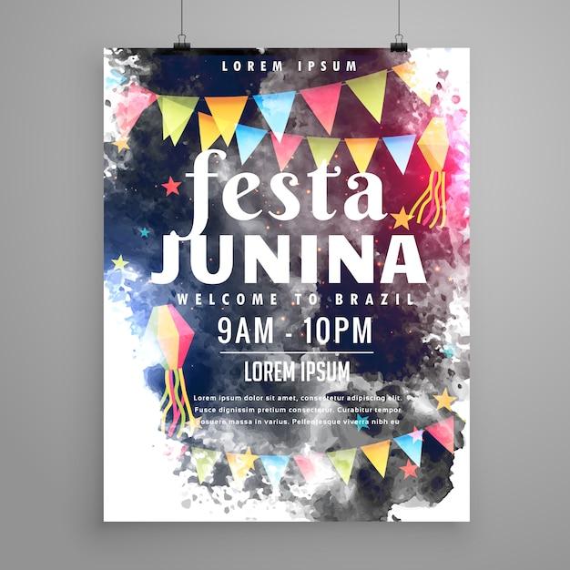 Design d'affiche pour l'invitation de festa junina Vecteur gratuit