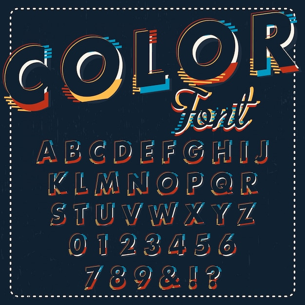 Design alphabétique coloré Vecteur gratuit