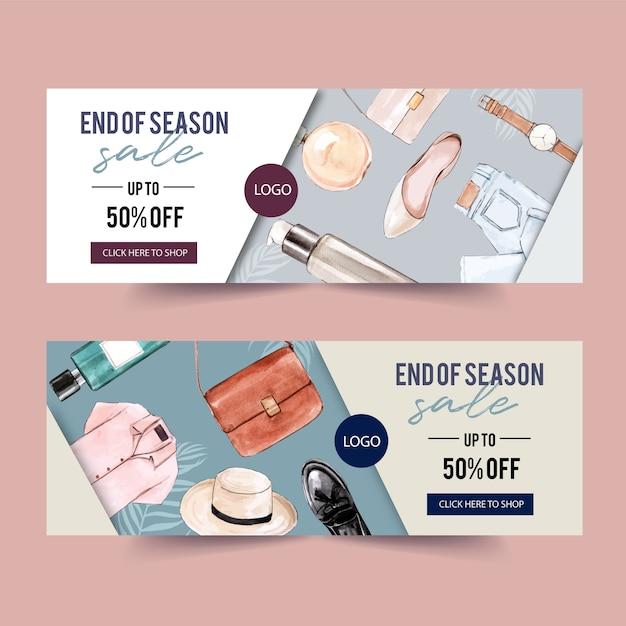 Design De Bannière De Mode Avec Parfum, Tenue, Accessoires Vecteur gratuit