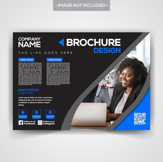Design de brochure d'affaires professionnel élégant noir Vecteur Premium