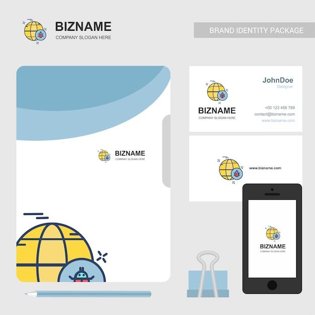 Design de brochures de société avec thème bleu et vecteur de logo de bogue Vecteur Premium