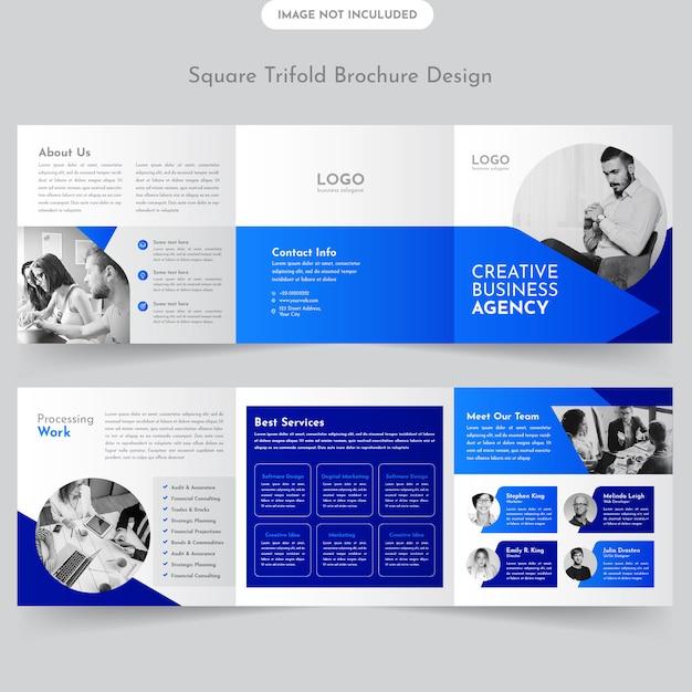 Design De Brochures à Trois Volets Business Square Vecteur Premium