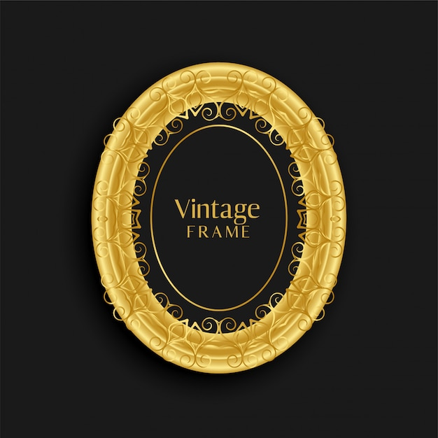 Design de cadre antique doré vintage de luxe Vecteur gratuit
