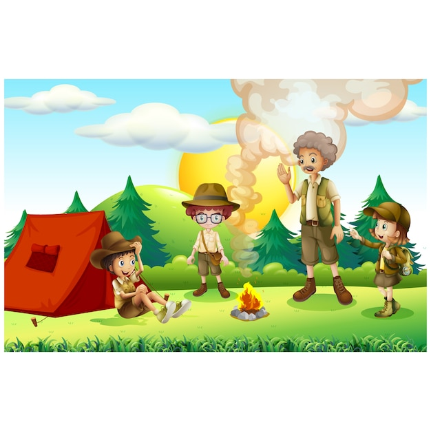 Design camping de fond Vecteur gratuit
