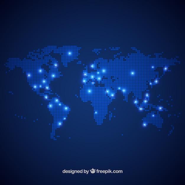 Design de la carte du monde de points Vecteur gratuit