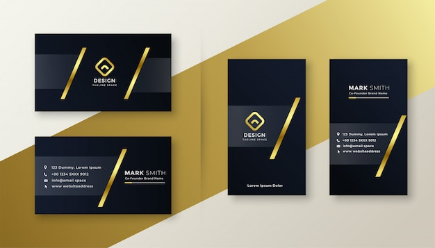 Design de cartes de visite premium or et noir Vecteur gratuit