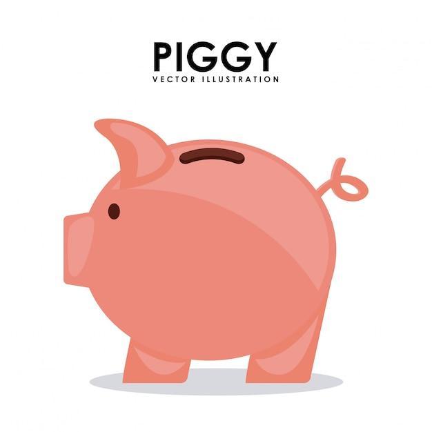 Design cochon au cours de l'illustration vectorielle fond blanc Vecteur Premium