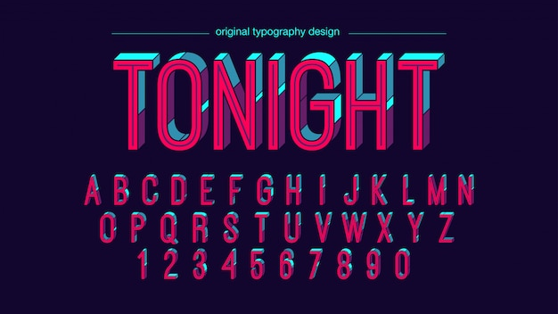 Design coloré lumineux typographie rétro Vecteur Premium