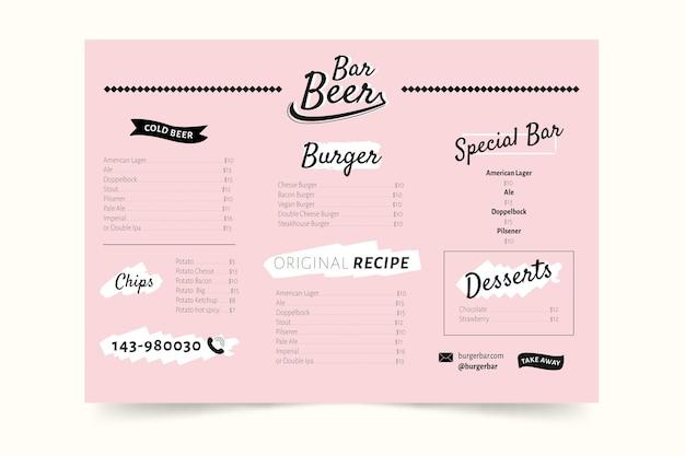 Design Coloré Pour Le Menu Du Restaurant Vecteur gratuit