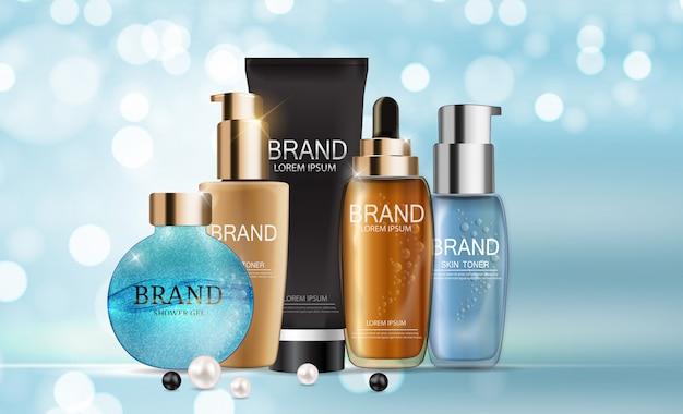 Design cosmetics modèle d'emballage de produit Vecteur Premium