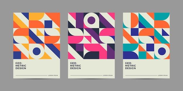 Design de couverture géométrique rétro Vecteur Premium