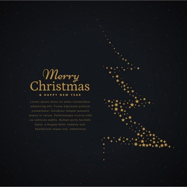 design créatif arbre de Noël fait avec des étoiles en arrière-plan noir Vecteur gratuit