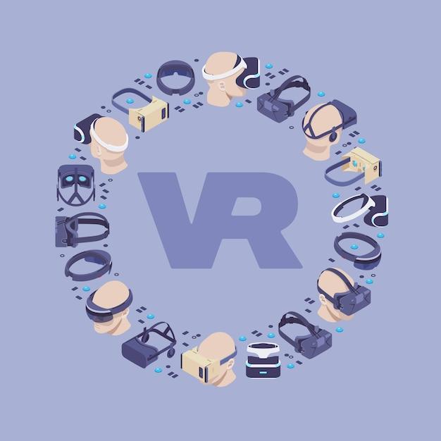 Design de décoration composé de casques de réalité virtuelle isométrique Vecteur Premium