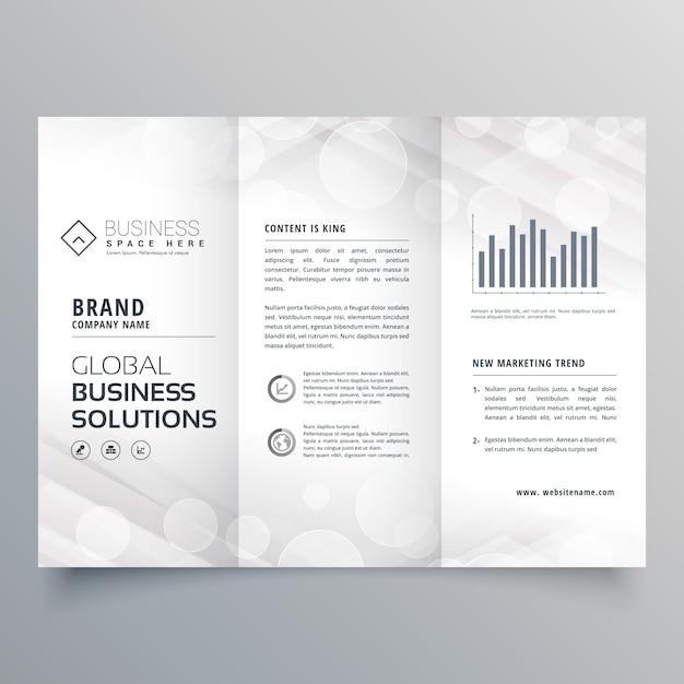 Design élégant de brochure en trois bouts blancs pour votre entreprise Vecteur gratuit