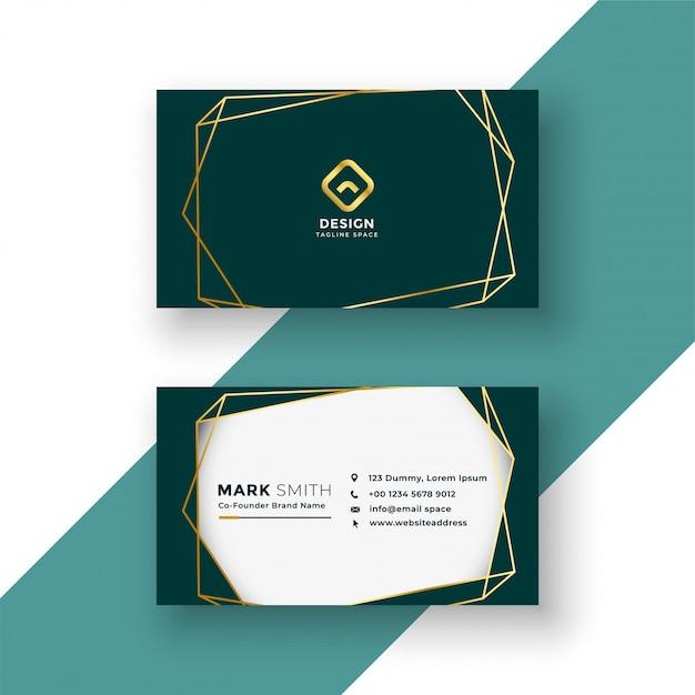 Design élégant de carte de visite avec cadre doré Vecteur gratuit
