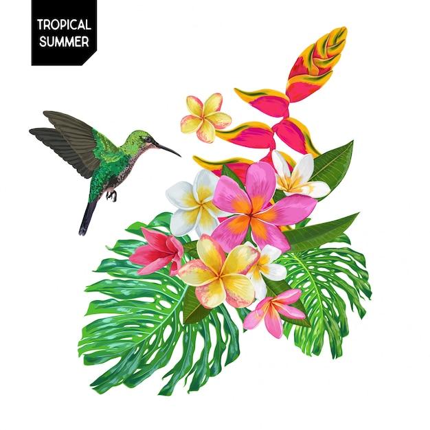 Design d'été avec colibri et fleurs Vecteur Premium