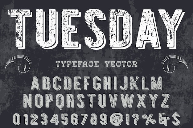 Design de l'étiquette typographique mardi Vecteur Premium