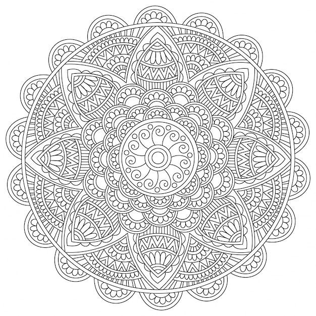 Design Floral Détaillé De Mandala élément Décoratif Vintage Pour