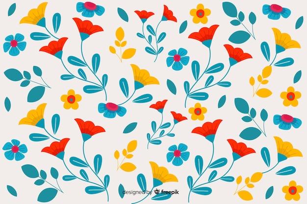 Design floral fond plat Vecteur gratuit