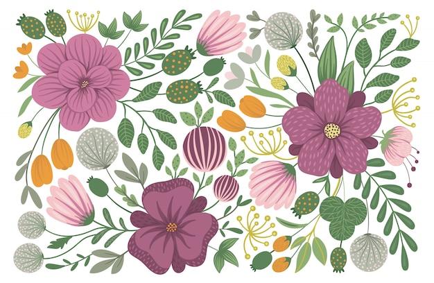 Design floral de vecteur. illustration plate branchée avec des fleurs, des feuilles, des branches. prairie, bois, clipart forêt. Vecteur Premium