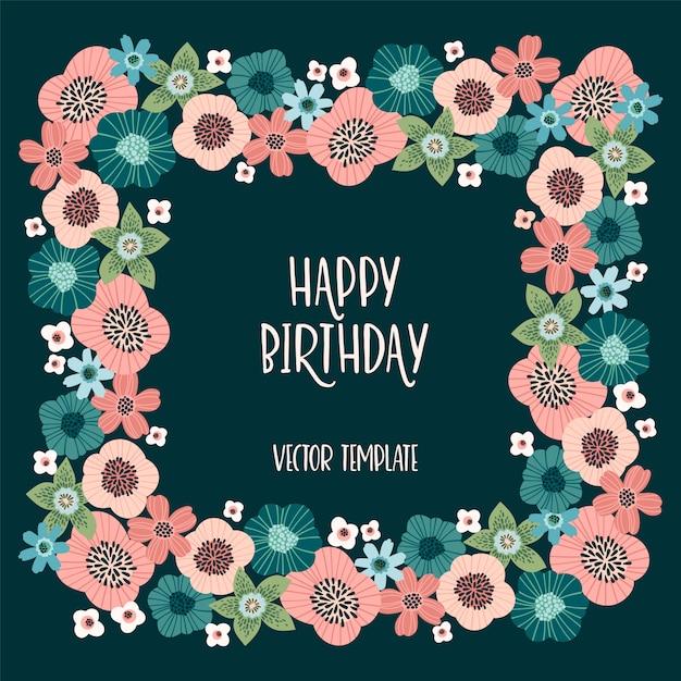 Design Floral Vector Avec Fleurs Mignonnes. Vecteur Premium