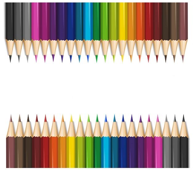 Design De Fond Avec Des Crayons De Couleur Vecteur gratuit