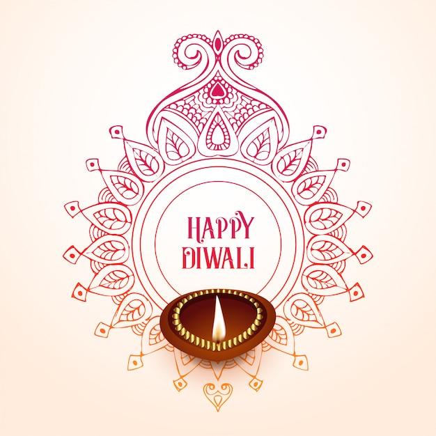 Design de fond diwali heureux créatif Vecteur gratuit