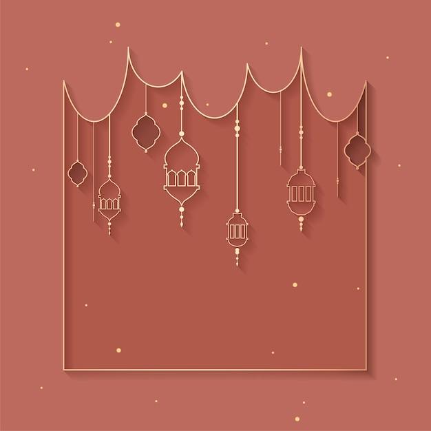 Design de fond encadré par ramadan Vecteur gratuit