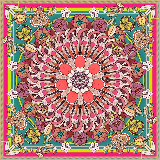 Design De Fond Exquis Mandala Avec éléments Floraux Vecteur Premium