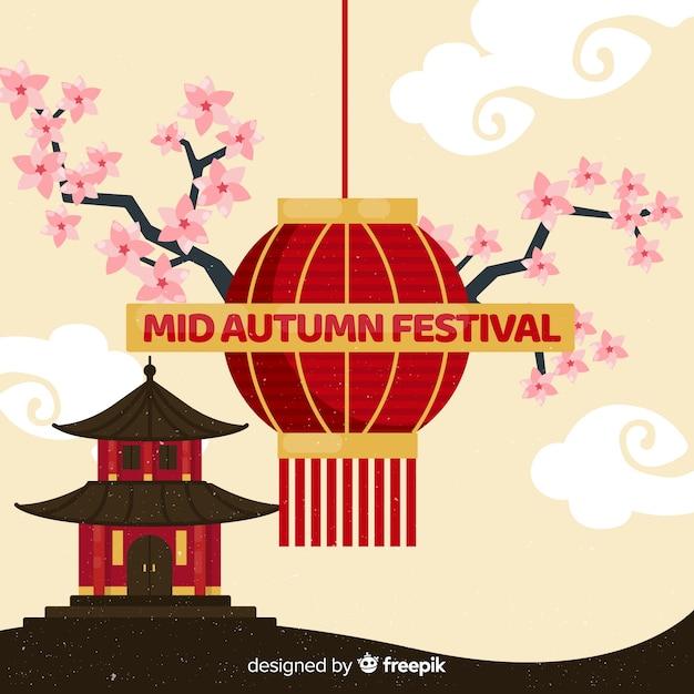 Design de fond de festival automne moyen au design plat Vecteur gratuit