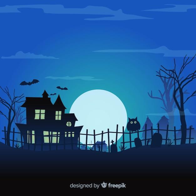 Design de fond halloween avec la maison hantée et le cimetière Vecteur gratuit