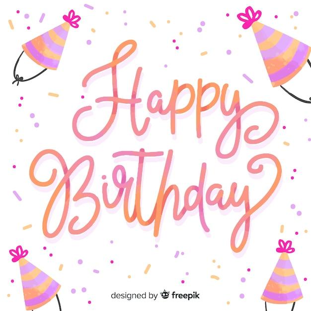 Design de fond lettrage joyeux anniversaire Vecteur gratuit