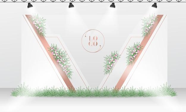 Design de fond photocall mariage avec thème de couleur or blanc et rose. Vecteur Premium