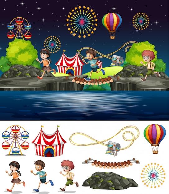 Design de fond de scène avec des gens jouant au cirque Vecteur gratuit